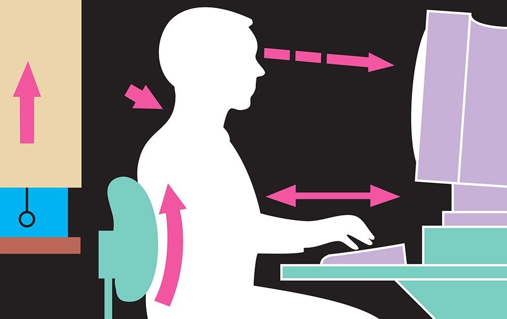 Osnovne smernice za pravilan položaj tela tokom rada na računaru